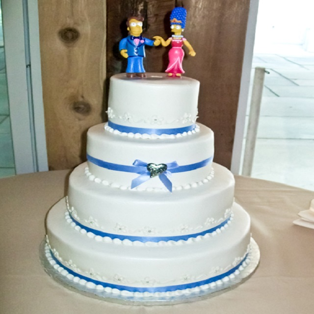 Simple White Cake With Blue Ribbon Wedding Kims Cottage Confections