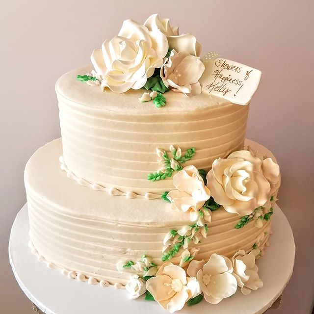 #specialty Shower cake from last Sunday-love the blush and creme details